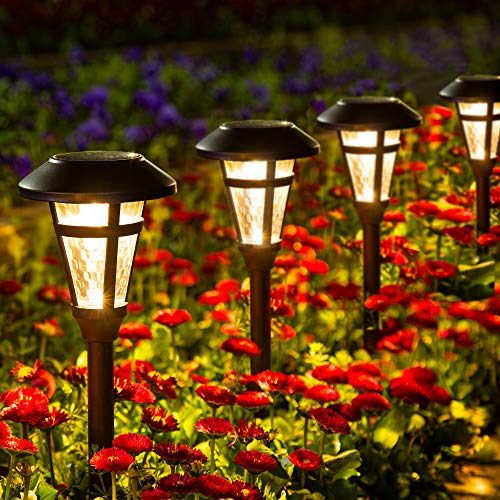 GIGALUMI 6 Pcs Solar Outdoor Lights, Bronze Finshed Landscape Path Lights, Glass Lamp, Waterproof Led Solar Pathway Lights for Lawn, Patio, Yard, Garden, Pathway, Walkway and Driveway