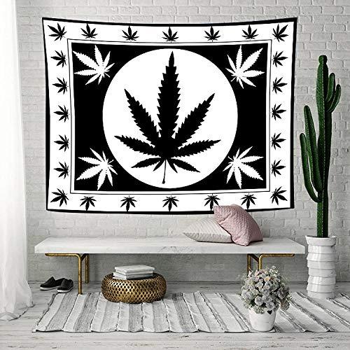Tapiz de hoja en blanco y negro, tapiz artístico de hoja de marihuana Rasta blanca, tapices para colgar en la pared para sala de estar, decoración del dormitorio del hogar, 150x100cm/60*40pulg