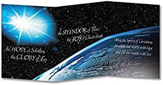 Blessings of the Season Planet Earth Deluxe Christmas Card Z-fold with Envelope and Xmas Cross Bookmark 5