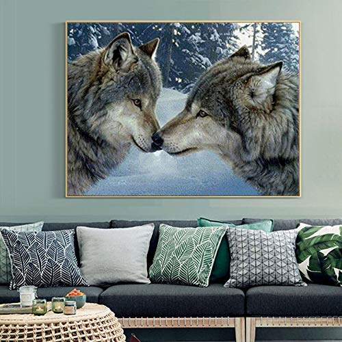 Punto De Cruz Kits De Bordado 14CT del Lobo De La Nieve Animal Hilo De Algodón Pintura DIY Costura DMC Año Nuevo Decoración VS-0002 Kit Punto de Cruz
