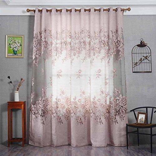 Vorhänge ösen Wohnzimmer Modern Jamicy® 100 x 250cm Neu Mode Auto Transparent Orientalisch Muster Blume Fenster Gardinen Deko Für Schlafzimmer Kinderzimmer Jungen (D)