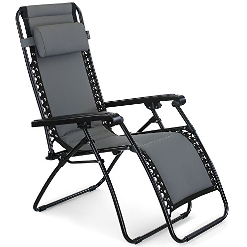 VonHaus Premium Padded Zero Gravity Chair - Heavy Duty Textoline Outdoor Folding & Reclining Sun Lounger with Head Pillow - Made from Steel Frame for Patio, Conservatory or Deck Chair