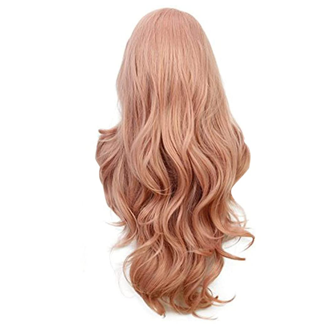?Lemoning? New Women's Fashion Wig Pink Synthetic Hair Long Wigs Wave Curly Wig+Cap