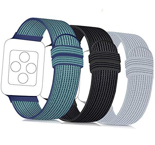 ATOO 3 Pezzi Nylon Cinturino Orologio per Apple Watch 38mm 40mm 42mm 44mm, Leggero Traspirante Cinturino di Ricambio Sportivo per iWatch Series 5 4 3 2 1 (42mm/44mm, Blu Verde/Nero/Grigio)