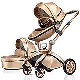 Hot Mom passeggino per bambini 100% cuoio PU, alto paesaggio, angolo di altezza regolabile del sedile, reversibile, maneggiare fino a 118cm,combinazione di seduta e culla in 2020,Oro