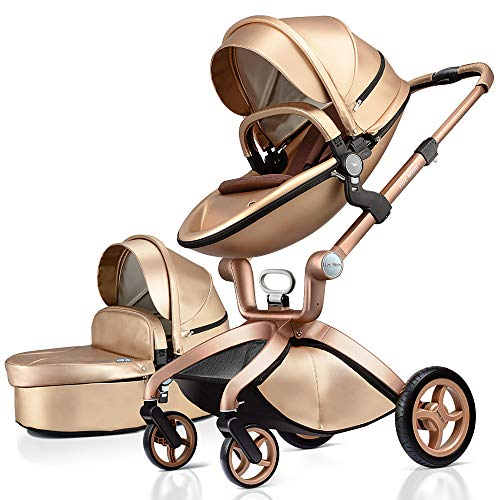 Baby Stroller in 2020,Hot Mom Baby Carriage with Adjustable Seat Height Angle and Four-Wheel Shock Absorption,Reversible,High Landscape and Fashional Pram,Gold