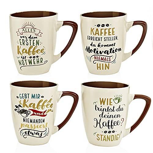 Weltbild Keramik Tasse mit Spruch Coffee 4er-Set - Kaffeetassen Set als Kaffee Geschenk: lustige Geschenke für Frauen Geschenke für Männer lustig Geschenke für Freundin Erzieherin Geschenk & mehr