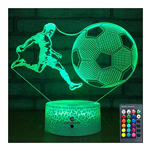 easuntec Soccer Gifts Soccer Lamp with Remote & Touch 7 Colors+16 Colors Dimmable Soccer Toys for Boys 6 7 8 9 12 Year Old Boys Gifts (Soccer 16WT)