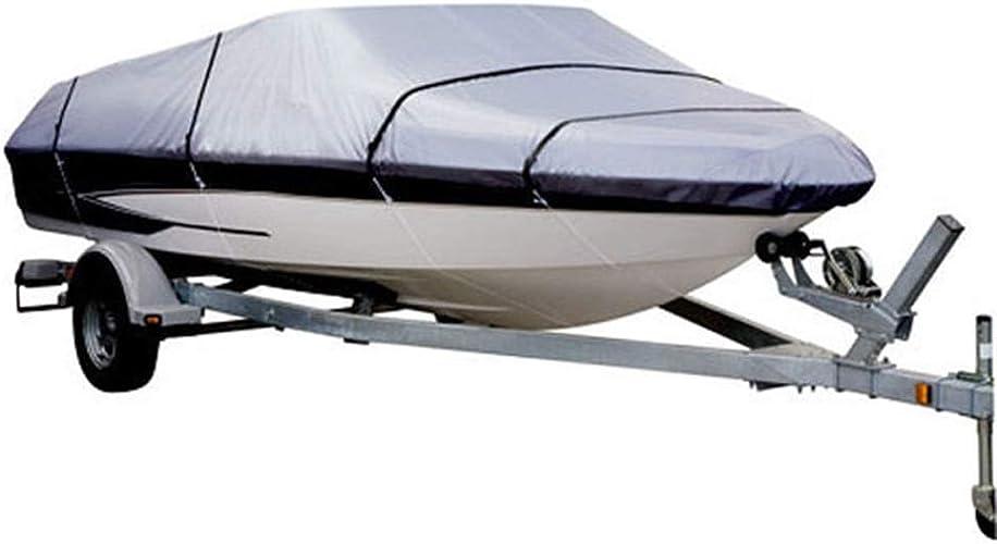 Housse de bateau, Housse de bateau imperméable en toile de polyester de qualité marine pour usage intensif, 210D, pour coque de bateau courirabout V-Hull, Tri-Hull de plein airs (Taille   17-19FT)