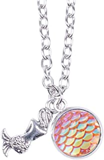 Myhouse Women Girls Colorful Fish Scales Pattern Mermaid Pendant Necklaces for Gifts Charms Findings (Pink)