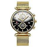 JISHIYU Relojes deportivos de marca superior para hombres, reloj de pulsera de acero inoxidable militar, reloj de hombre, reloj de pulsera de moda cronógrafo (color: oro)