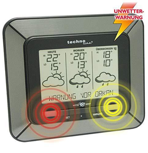 Technoline WD 4930 Weerstation op basis van satellietondersteuning met binnen/buitentemperatuurweergave, onweerwaarschuwing, en betrouwbare weersvoorspelling voor 3 dagen, grijs, 17 x 15 x 3,7 cm