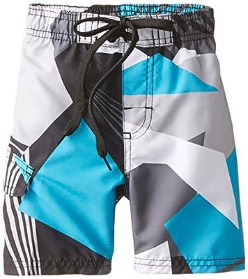 Kanu Surf Boys' Little Line Up Quick Dry UPF 50+ Beach Swim Trunk, Vertigo Black, 7