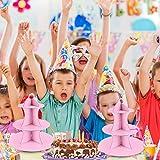 2 Stück Tortenständer aus Karton Etagere 3 Etagen Servierständer Muffinständer, Rosa Cupcake Ständer für Geburtstag Party, Kaffeetafel, Hochzeit, Babypartys - Wiederverwendbar - 7
