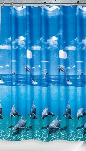 Ekershop EDLER Textil Duschvorhang 180 x 200 cm Delfin Delphin im Meer Blau Weiss inkl. Ringe
