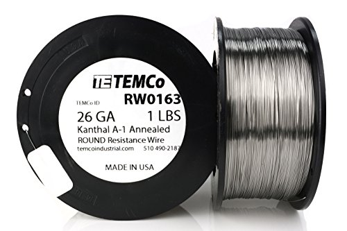 TEMCo Kanthal A1 wire 26 Gauge Resistance AWG A-1 ga