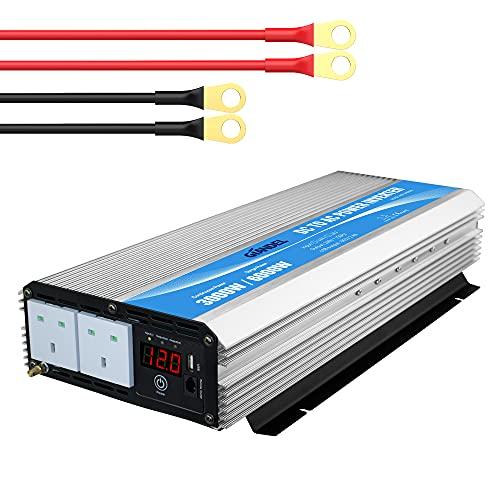 Power Inverter 2000W DC 12V to AC 240V 230V Modified Sine Wave converter with remote controller &...