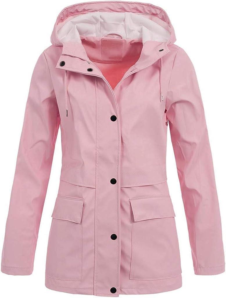Windbreaker Womens Rain Jacket Plus Size Waterproof Outdoor Raincoats Hooded Trench Coats - Limsea