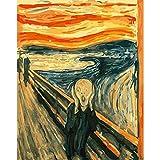 MFQERH JUMPGO Pintar por Numeros Van Gogh Grita Cuadro Famoso DIY Pintura al óleo por Número Kit con Pinceles y Pinturas para Principiantes de Decoraciones para el Hogar 40 x 50 cm Sin Marco