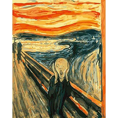 Pintar por Numeros Van Gogh Grita Cuadro Famoso DIY Pintura al óleo por Número Kit con Pinceles y Pinturas para Principiantes de Decoraciones para el Hogar 40 x 50 cm Sin Marco