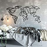 K&L Wall Art Mapamundi 3D Origami Worldmal de madera de fibra de densidad media, decoración de pared (180 cm x 94 cm, acrílico negro)
