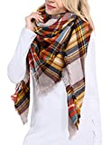 Bess Bridal Women's Plaid Blanket Winter Scarf Warm Cozy Tartan Wrap Oversized Shawl Cape (One Size, Yellow)