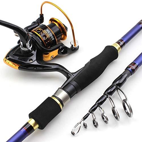 H/A HUANH 1,8 m 2,7 m 2.1m2.4m Carbono Spinning caña de Pescar telescópica y Spinning Pesca Carretes multifunción trastos Conjunto de los Pescados de la Pesca HUANH (Size : 2.4 m)