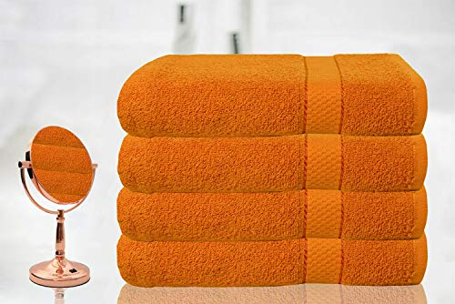 BellaCasa Casabella - Juego de 4 Toallas de baño (tamaño Grande, 100%...