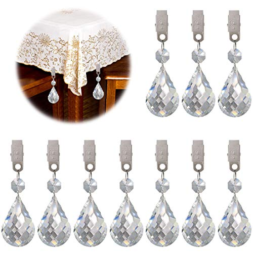 Keadic 10Pcs Cucurbit Christmas Tablecloth Weights Crystal Glass Teardrop Prisms Pendant Tablecloth Weights Kit, Crystal Chandelier Pendants Parts Beads Perfect for Home Decoration