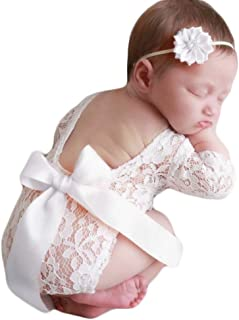 Baby Photography Props Lace Rompers Headdress Newborn Girl Photo Shoot Outfits Set Infant Princess Costume