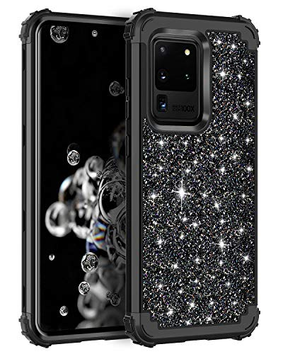 Casetego Compatible Galaxy S20 Ultra Case,Floral Three Layer Heavy Duty Hybrid Sturdy Armor Shockproof Full Body Protective Cover Case for Samsung Galaxy S20 Ultra 6.9 inch,Shiny Black