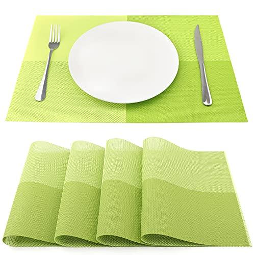 SueH Design Juego de Manteles Individuales de 4 Unidades Verde en PVC 45 * 30 CM