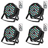 UFLIZOGH 4pcs Luz de Escenario 36W 36LED Par RGB DMX512 Luces Discoteca de Proyector de Efecto Lámpara con Sonido Activado Control Remoto Modo para Bodas KTV Navidad Fiesta