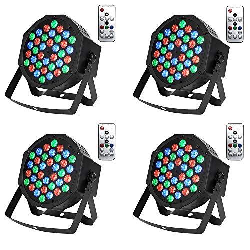 UFLIZOGH 4pcs Par LED Projecteur à 36 LED Eclairage de Scène Effet DMX512 avec Télécommande Sans Fil Auto Stroboscope Jeu de Lumière pour DJ Disco Soirée Anniversaire Mariage