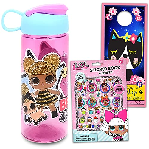 LOL Dolls 16.5oz Water Bottle For Kids, Girls Bundle ~ LOL Refillable Bottle For Girls School Supplies, Sports, And More With LOL Stickers And Cat Door Hanger