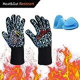 Guantes para cocinar resistentes al calor Hornos para el horno con resistencia de corte L5 para ahumador de barbacoa Hornear Aislante de silicona para asar Guantes de carne gratis