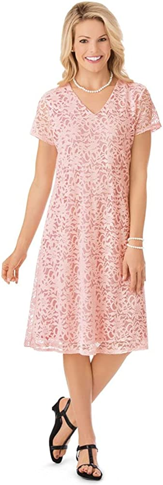 V Neck All Lace Short Sleeve Dress, Just Below The Knee Hemline and Fully Lined