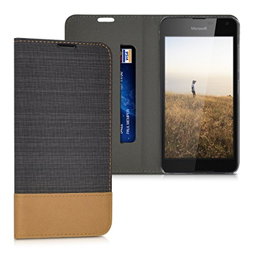 kwmobile Hülle für Microsoft Lumia 650 - Bookstyle Case Handy Schutzhülle Textil mit Kunstleder - Klapphülle Cover Anthrazit Braun