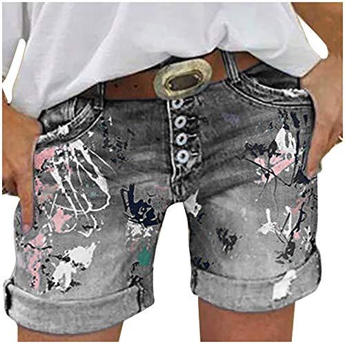 AFFGEQA Damen Lochjeans Sommer Casual Shorts High Waist Jeanshosen Kurz Denim Hosen Gewaschene Zerrissene Hotpants Jeans mit Taschen