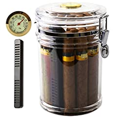 DESIGN:high quality acrylic material,overall HD transparent Cigar Humidor, CONSTRUCTION:retaining ring with top fixed,tightly sealed rubber gasket, top external hygrometer,easy to read,low cedar wood lining,rectangular humidifier (no need to install,...