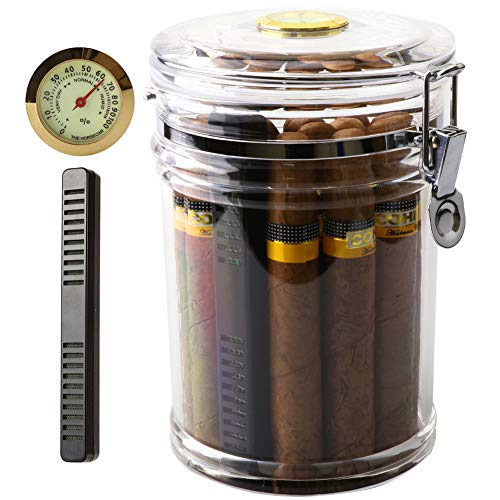 XIFEI Acrylic Humidor Jar with Humidifier and Hygrometer,humidor That can Hold About 18 Cigars (Clear)