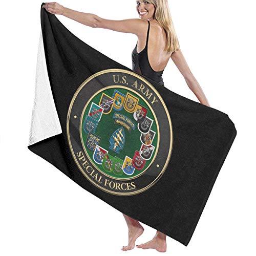 qinzuisp Beach Towel Parche S F De Las Fuerzas Especiales del Ejército De EE. UU. con Grupos S F Yoga Camping Exterior Absorbente Secado Rápido Ligero Impreso Microfibra Acogedora Toalla D