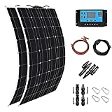 Xue-shelf Solar Panel 600W 2X 300W PET Flexible Solar Panel Portable Mono Solar Battery Charger with Controller for Car Yacht Battery Boat,with 40A Controller …