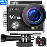 Jeemak 4K WiFi Action Camera 16MP Waterproof Camcorder with Remote Control Accessories Kit