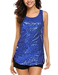 Blue #2 Sleeveless Shimmer Camisole Vest Sequin Tank Top