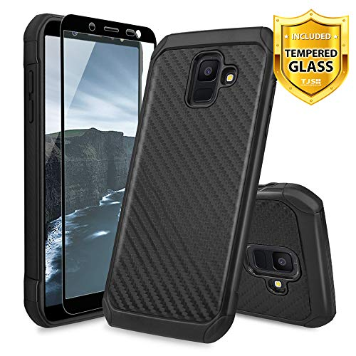 TJS Case for Samsung Galaxy A6 2018, with [Tempered Glass Screen Protector] Dual Layer Hybrid Shock Absorbing Carbon Fiber Back Hard TPU Inner Layer Protection Case Cover (Black)