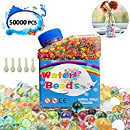 NOCHME Colorful Water Beads Set, 50000 PCS Non Toxic Sensory Water Balls Grow In Water, Gel Soil Water Crystal Bead, Clear Jelly Gems Vase Filler for Home Decorations(Extra 5 Balloons Included)