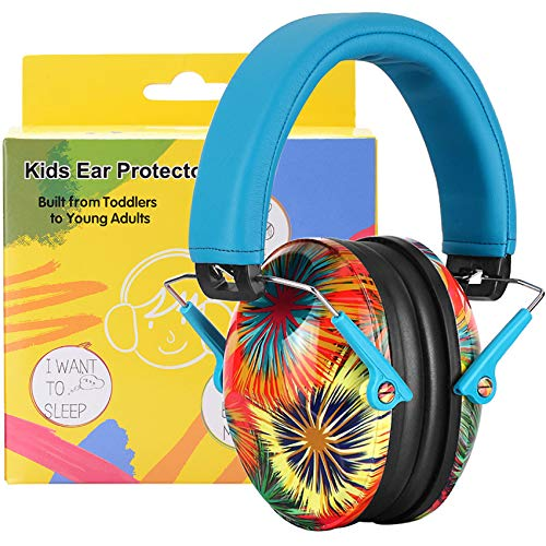 PROHEAR 032 Kids Ear Protection Safety Noise Ear muffs, NRR 25dB Protective Earmuffs for Childrens, Adjustable Headband Ear Defenders for Monster Trucks, Sports Events, Concerts - Fireworks Pattern