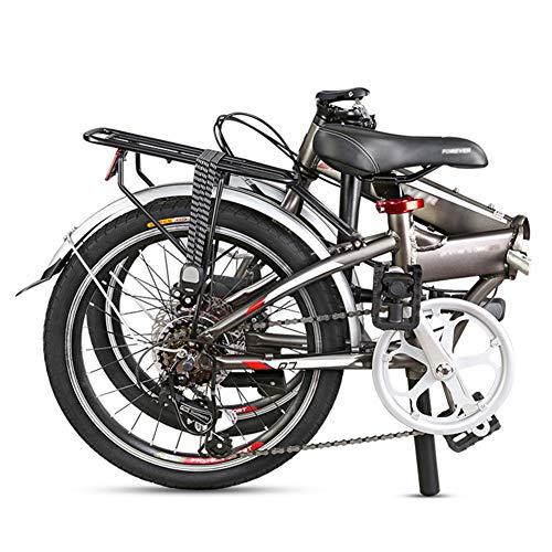 LYRONG 20 Zoll Faltrad Klapprad, 7 Gang Alu-Rahmen Fahrrad Klappfahrrad mit Schutzbleche und Komfortsattel für Herren, Damen, Mädchen, Jungen geeignet,Black