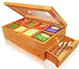 SOLID 100% BAMBOO Tea Box Natural Chest with Clear Hinged Lid, 8 Storage Sections with Expandable Drawer